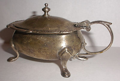 Antique English Goldsmith & silversmiths  sterling silver mustard pot