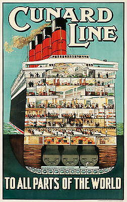 """Cunard Line """" To All Parts Of The World """" Retro Reise / Promo Poster"""