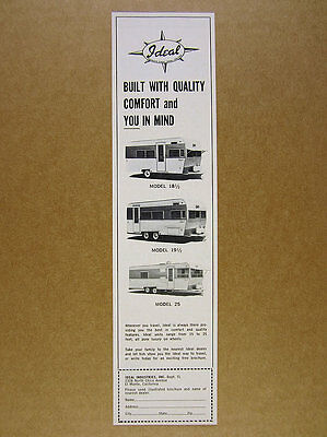 1968 Ideal Travel Trailers models 18 1/2 19 1/2 25 photos vintage print Ad