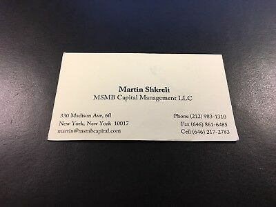 Martin Shkreli Business Card Pharma Bro MSMB Capital Not Guilty On Count 7