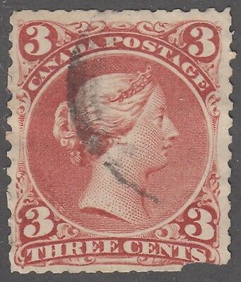 """Canada Scott #25  3 cent red """"Large Queen"""""""