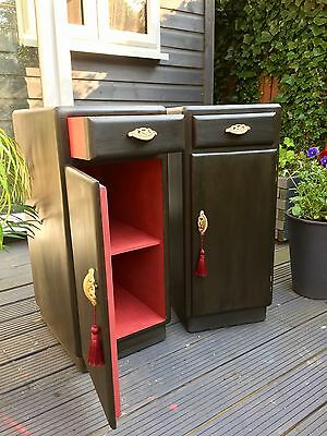 Stunning Antique Art Deco Pair Of Bedside Tables Cabinets Annie Sloan Graphite