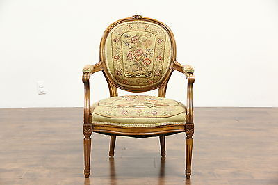French 1930's Vintage Carved Beech Chair, Needlepoint Upholstery