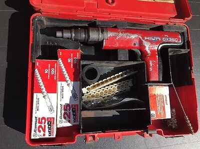 Hilti Dx 350 Piston Drive Tool Shot Power Actuated Nail Gun With Extras Pistons