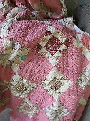 Vintage Antique Cutter Quilt Red Micro Check Cream Nebraska Farmhouse USA