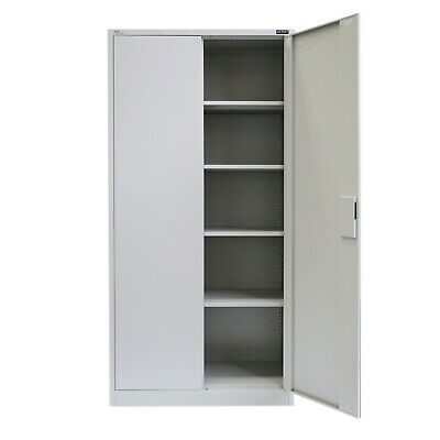 [OUT OF STOCK] 2 Doors White Cupboard Steel Office Garage Locker Filing Cabinet