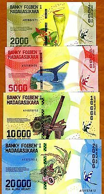 SET Madagascar 2000;5000;10000;20000 Ariary 2017 UNC > Completely Redesigned