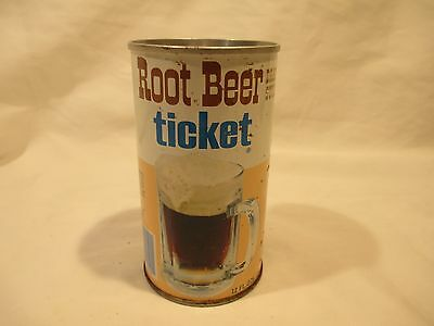 Ticket Root Beer Straight Steel Pop Soda Can