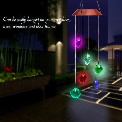 Hanging Wind Chimes Solar Powered Colour Changing LED Light Garden Windchimes DY
