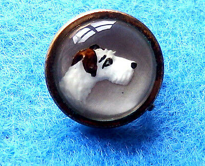 Antique,essex Crystal Domed Glass Intaglio Hand Painted Terrier Dog Head