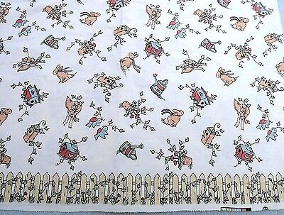 Picket Fence Double Border Print Birdhouses Rabbits Hats Fabric Yardage 2 yds