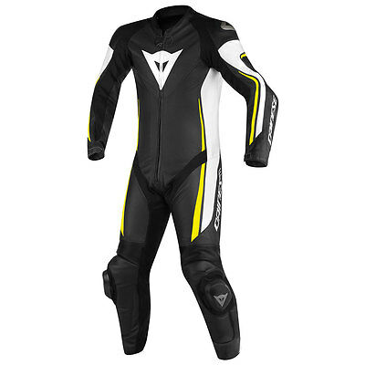Dainese Assen Black / White / Fluo Yellow One Piece Perforated Suit All Sizes