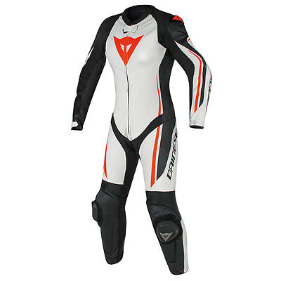Dainese Assen White / Black / Fluo Red Moto Ladies One Piece Suit All Sizes