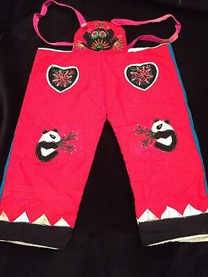 Chinese child's pants-red hand embroidered Vintage dolls clothes
