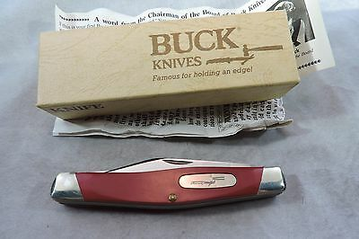 "Rare  BUCK 301 T4  in  smooth RED 3 BLADE 4"" STOCKMAN KNIFE V-1989 New In Box"