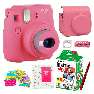 Fujifilm Instax Mini 9 Camera Flamingo Pink + 20 Sheets Film + Bag + Album +Gift