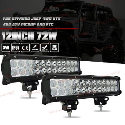2x 12Inch CREE 72W LED Light Bar Driving Jeep SUV Truck ATV Pickup Fog Ford Lamp