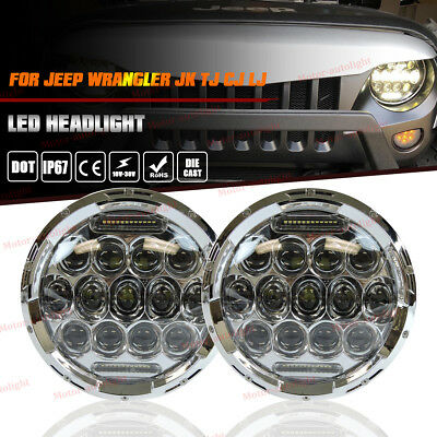 "For 97-18 JEEP Wrangler JK TJ CJ LJ 7"" Round LED Projector Headlights Hi/Lo Beam"