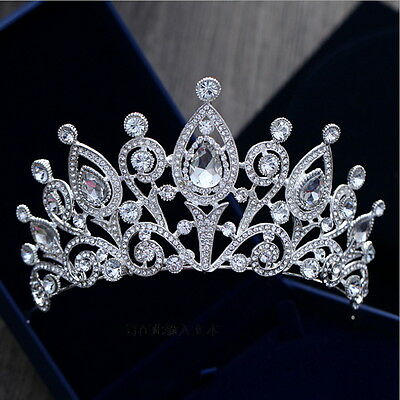 8cm High Luxury Drip Crystal Large Crown Tiara Wedding Prom Party Pageant
