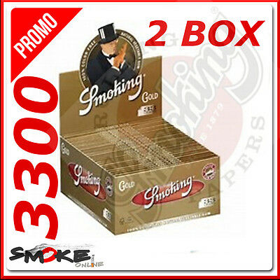 3300 Fogli Cartine Smoking Oro Gold Slim Lunghe 2 Box 100 Libretti King Size