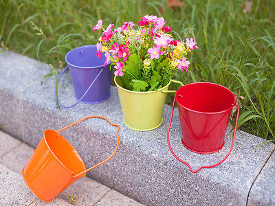 Set Of 10 Metal Hanging Plant Pots Flower With Drainage Hole Storage Bucket