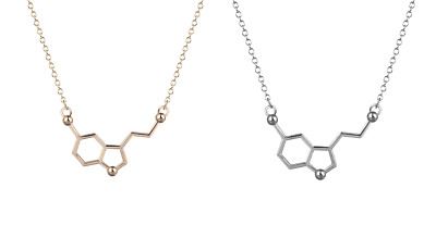 Serotonin Molecule Necklace in FREE Gift Bag/Box! Silver or Gold - UK Science