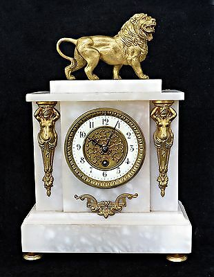 Antique French Marble Alabaster Ormolu /gilt Lion Mantel Clock, Serviced, Works