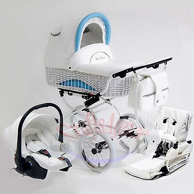 Wicker Classic Retro  Pram Stroller Pushchair Baby 3in1 Travel System eco-leathe