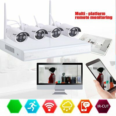 4X 720P HD Wireless Wifi DVR WLAN IP Kamera K/Set Funk Video Überwachungssystem@