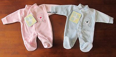 Premature Baby Sleepsuit Babygrow Prem Sleeper Boys Girls Soft Velour Pink Blue