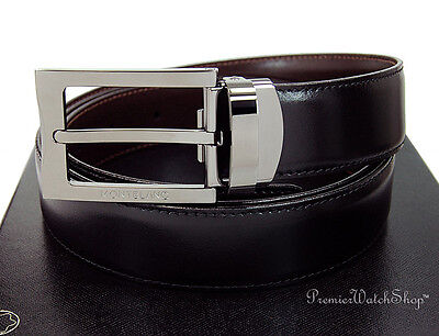 NEW Montblanc Contemporary Line Black-Brown Reversible Leather Mens Belt 105080
