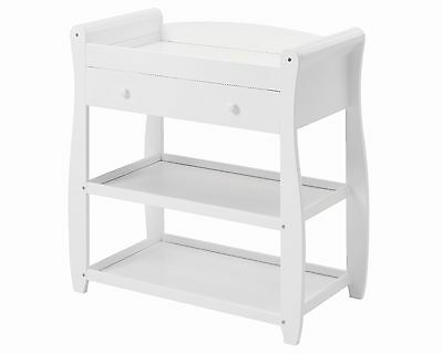 Babymore Sleigh Changer with Drawer - WHITE