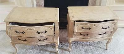 Pair Of Antique Italian Style Ornate Bombay Two Drawer End Stands Commodes
