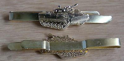 Russian military tank 3-D dsign tie clip gold color metal pin