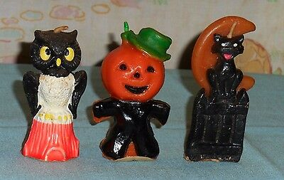 vintage Halloween GURLEY CANDLE LOT OF 3 cat/fence/moon scarecrow owl/tree stump