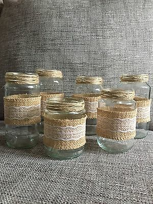 6 X Glass Jars Vases Vintage Wedding Decoration Shabby Chic Twine