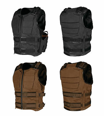 Speed & Strength Mens True Grit Armored Textile/Leather Riding Vest with Holster