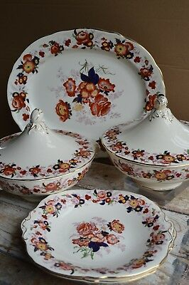 5 Pc Majestic Royal Cauldon Serving Tureens Platters Meat Plate Charger 1950s