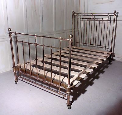 Superb French 19th Century Brass Bed,  Small Double