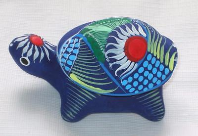 Ceramic Clay Turtle Figurine Small Trinket Keeper Hand-painted Mexican Art TK2