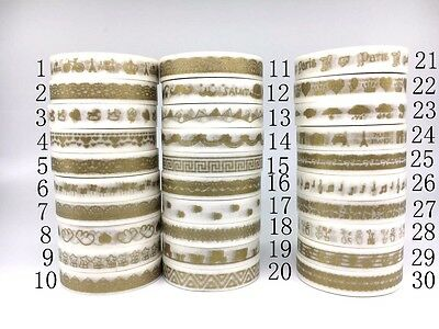 Gold Foil Washi Tape 8mmX7m Masking Adhesive Decorative Scrapbook Craft Sticky