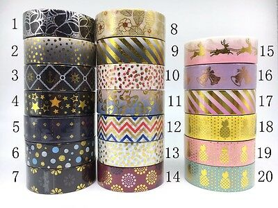 Foil Colours Washi Tape 15mmX10m Masking  Adhesive Decorative Scrapbook Sticky