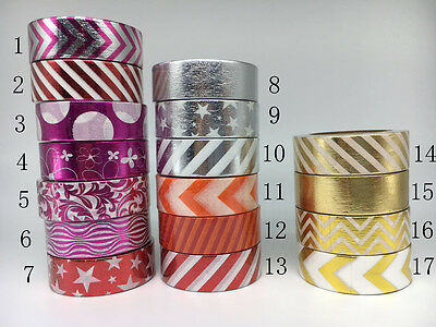 Gold,Purple,Silver, Red Foil Washi Tape 15mmX10m Masking  Decor Scrapbook Sticky