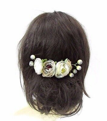 Grey Rose Berry Flower Hair Comb Silver Bridal Bridesmaid Fascinator Floral 3573