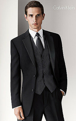 Black Calvin Klein 2 Button Notch Wool Tuxedo Prom Package Flat Front Pants