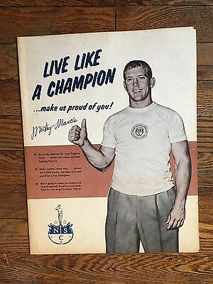 Rare Vintage 1956 Mickey Mantle Health Habits Chart - w Berra, Joe Louis