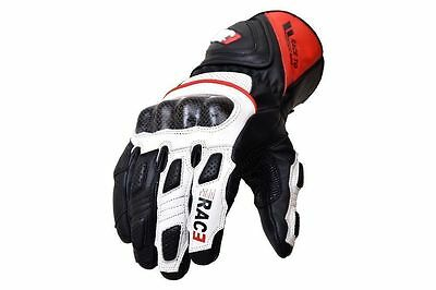 Motorcycle Motorbike Carbon Fiber Knuckle Cowhide Leather Glove White Sport RAC3