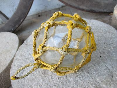 "Antique Japanese Glass Fishing Float 4-3/4"" Netted Nautical Buoy Ball Roped Net"