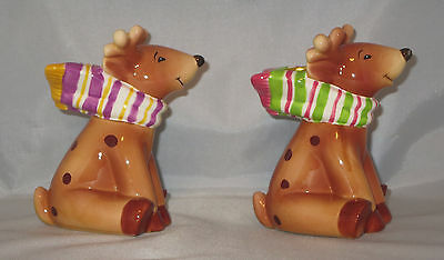 REINDEER Candle Holders Christmas Set Scarves Taper Purple Yellow Pink Green New