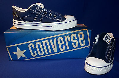 Vtg 1970s Converse Straight Shooter Sneakers Boys Sz 3 Navy Blue New Old Stock